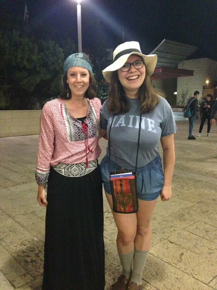 Julia and her roommate Hadassah pose for a photo from their time studying abroad in Israel. They are dressed up, Hadassah as a gypsy and Julia as a tourist, to celebrate Purim, which is like a Jewish version of Halloween.