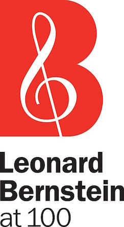 Official logo of the celebration of Leonard Bernstein's 100th birthday, a clef in red, white, black
