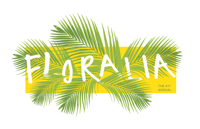 Floralia 2018 logo of palm fronds and lettering