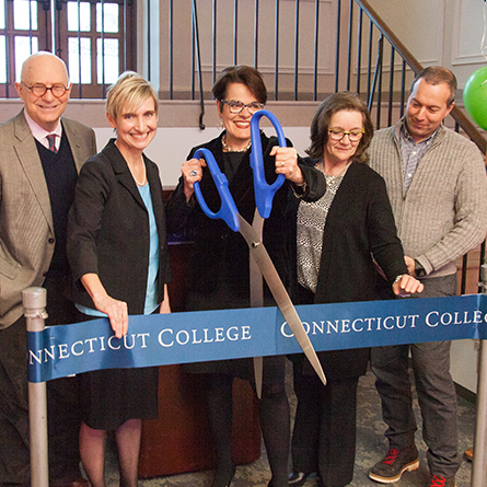 President Bergeron cuts the ribbon at the opening of The Otto and Fran Walter Commons for Global Study and Engagement