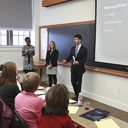 Students participate in a career workshop at Connecticut College.