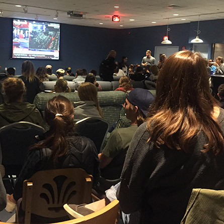 Students watch the Presidential debate at the College Center at Crozier-Williams.