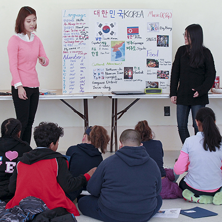 Conn students teach 5th Graders at the International Children's Expo