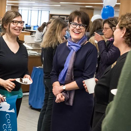 President Katherine Bergeron talks with students, faculty and staff.