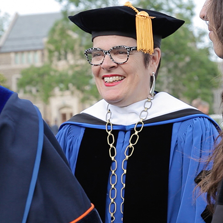 President Katherine Bergeron welcomed the Class of 2021, returning students, faculty and staff during Connecticut College's 103rd Convocation.