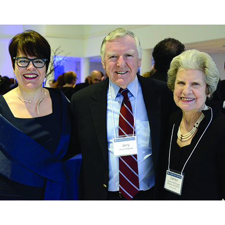 President Katherine Bergeron poses with Jerry Holleran and Carolyn Holleran '60 GP '07