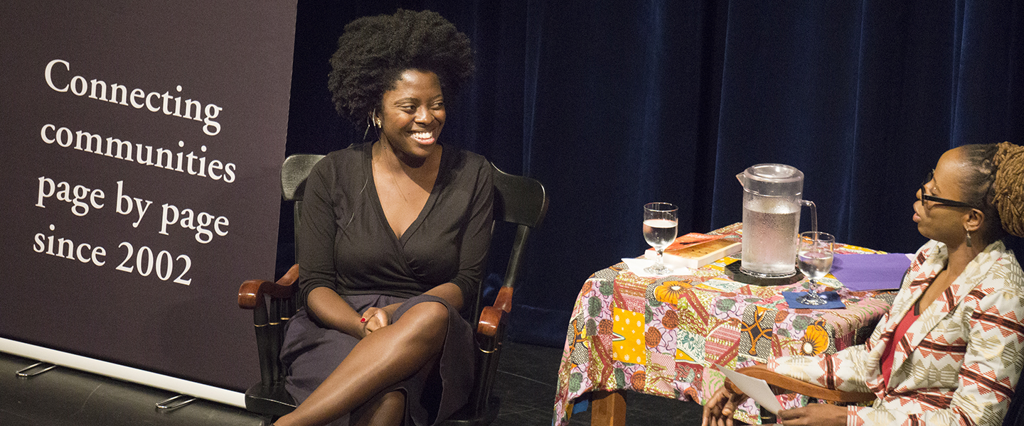 Author Yaa Gyasi speaks about her work with Nathalie Etoke, associate professor of French and Africana studies and associate director of the Center for the Comparative Study of Race and Ethnicity, on the stage of Palmer Auditorium
