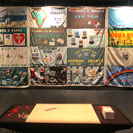The AIDS Memorial Quilt on display at Connecticut College
