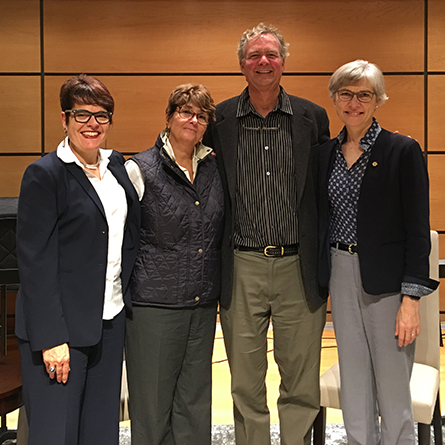 From left: President Katherine Bergeron, Susan Froshauer '74, David Haussler '75 and Lynne Cooley '76.