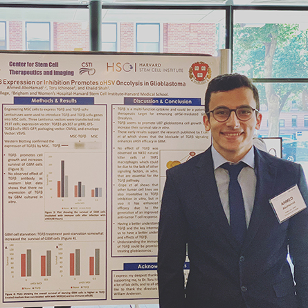 Ahmed AboHamad '21 presents the results of his research at the Harvard Stem Cell Institute's 14th annual summer internship all-day research symposium, where he was honored with the 2019 Nada Anzak Award.