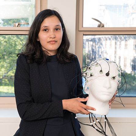 Linda He '22 presents research she conducted over the summer with Professor of Computer Science Gary Parker at the annual Summer Science Institute poster symposium Oct. 5.