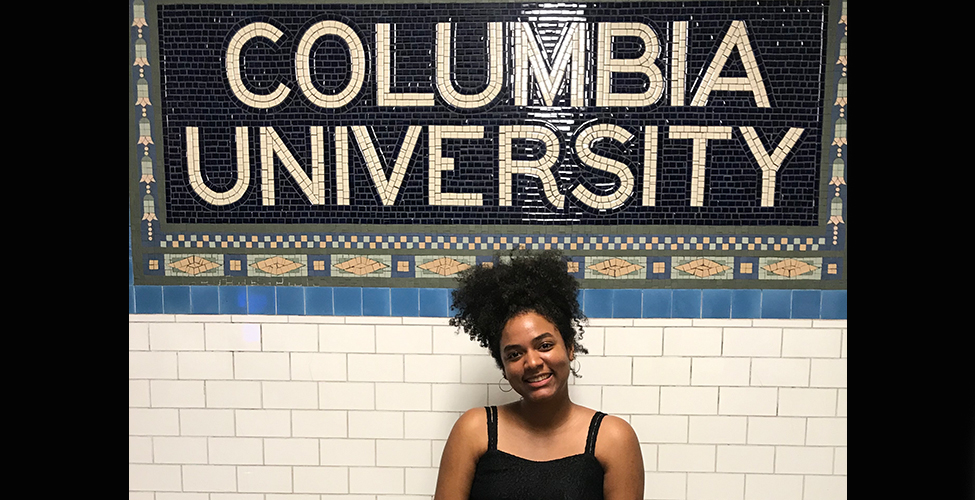 Viangely Asencio poses in front of the Columbia University