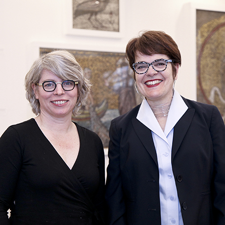 Jill Lepore and President Katherine Bergeron pose for photograph.