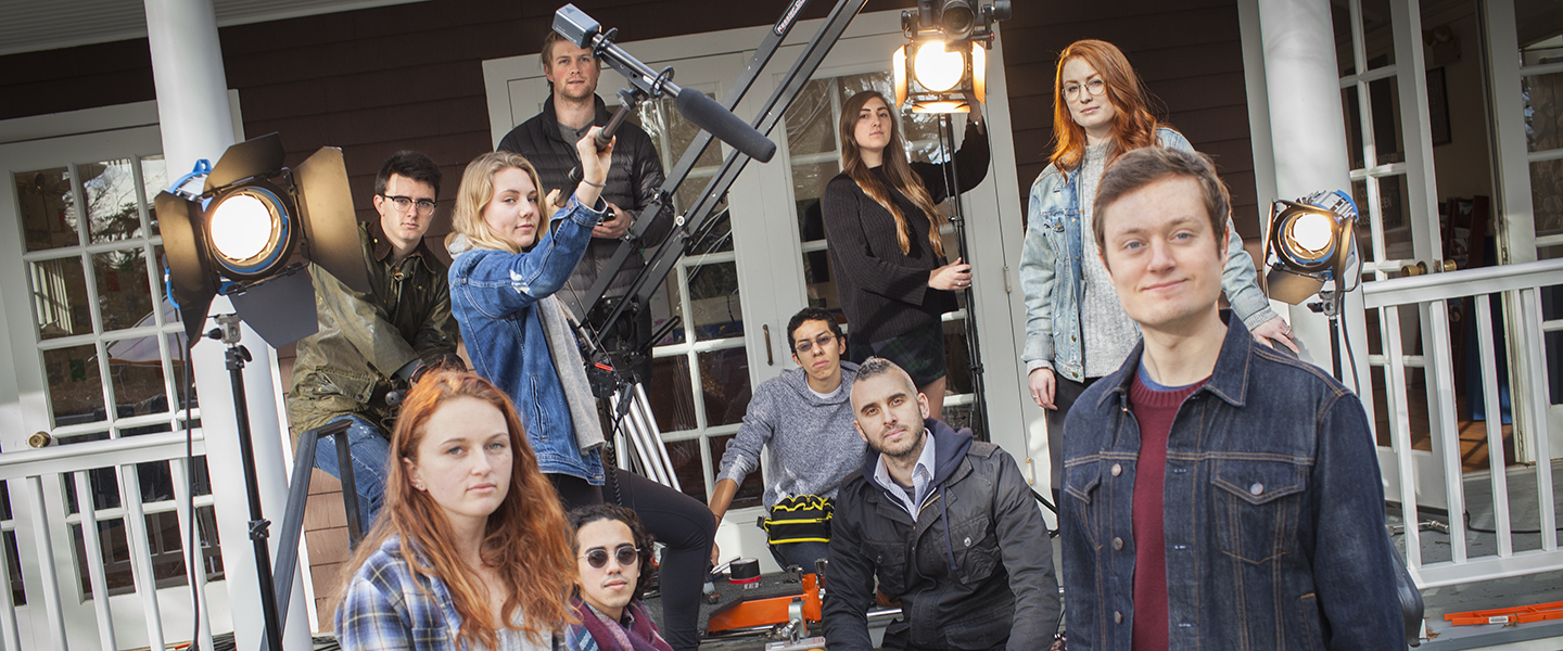 Film professor Ross Morin and his students work on a film