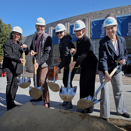 (From left): Marx Professor of Music Midge Thomas, Professor of Theater David Jaffe, Professor of Dance Heidi Henderson, President Katherine Bergeron, and Nancy Marshall Athey '72 break ground on a $24 million renovation of Palmer Auditorium.