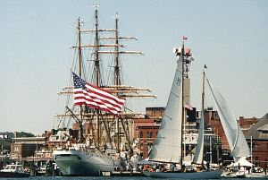 The USCGA bark Eagle in New London Harbor